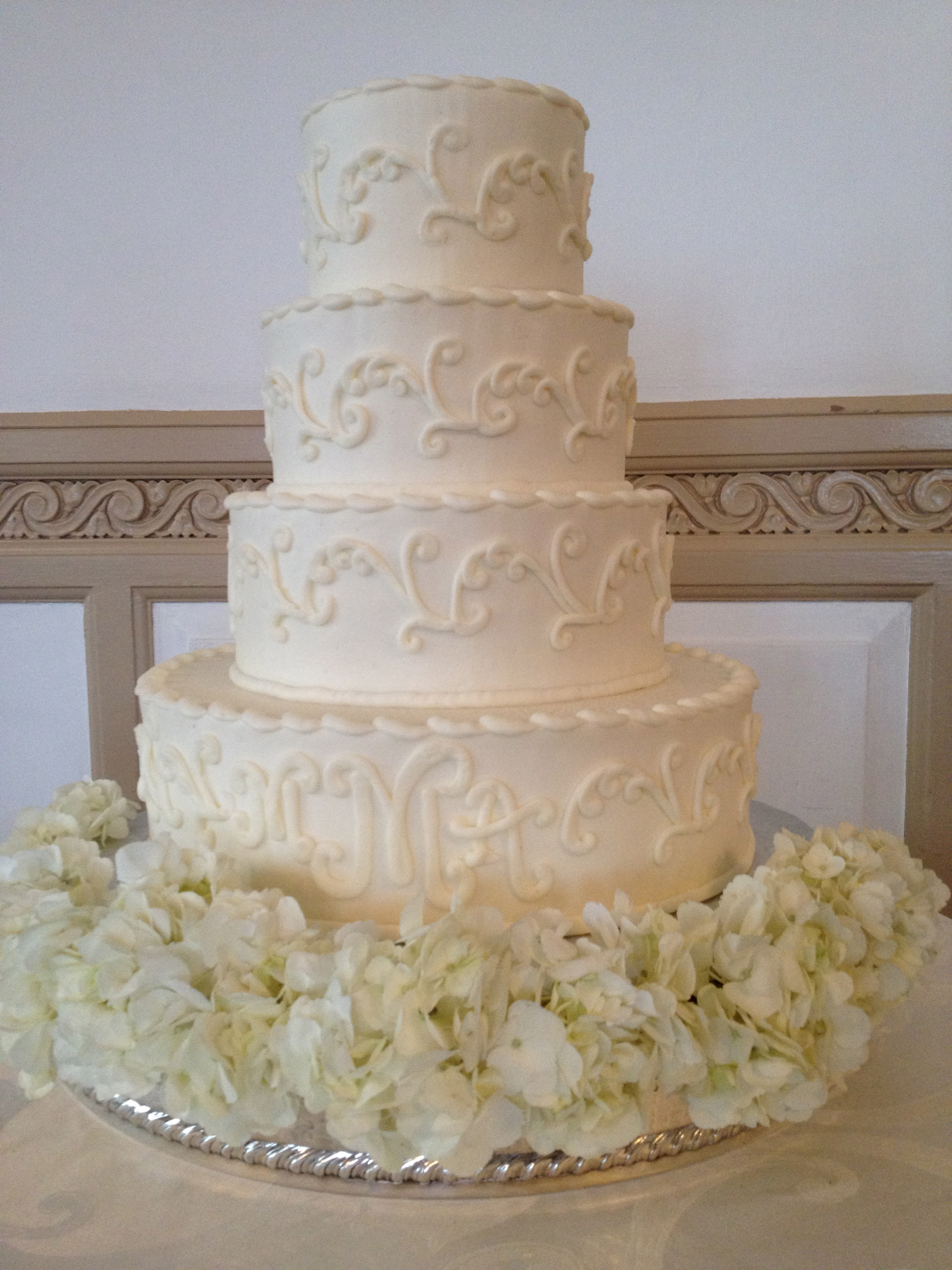 White hydrangea skirts the tiered cake
