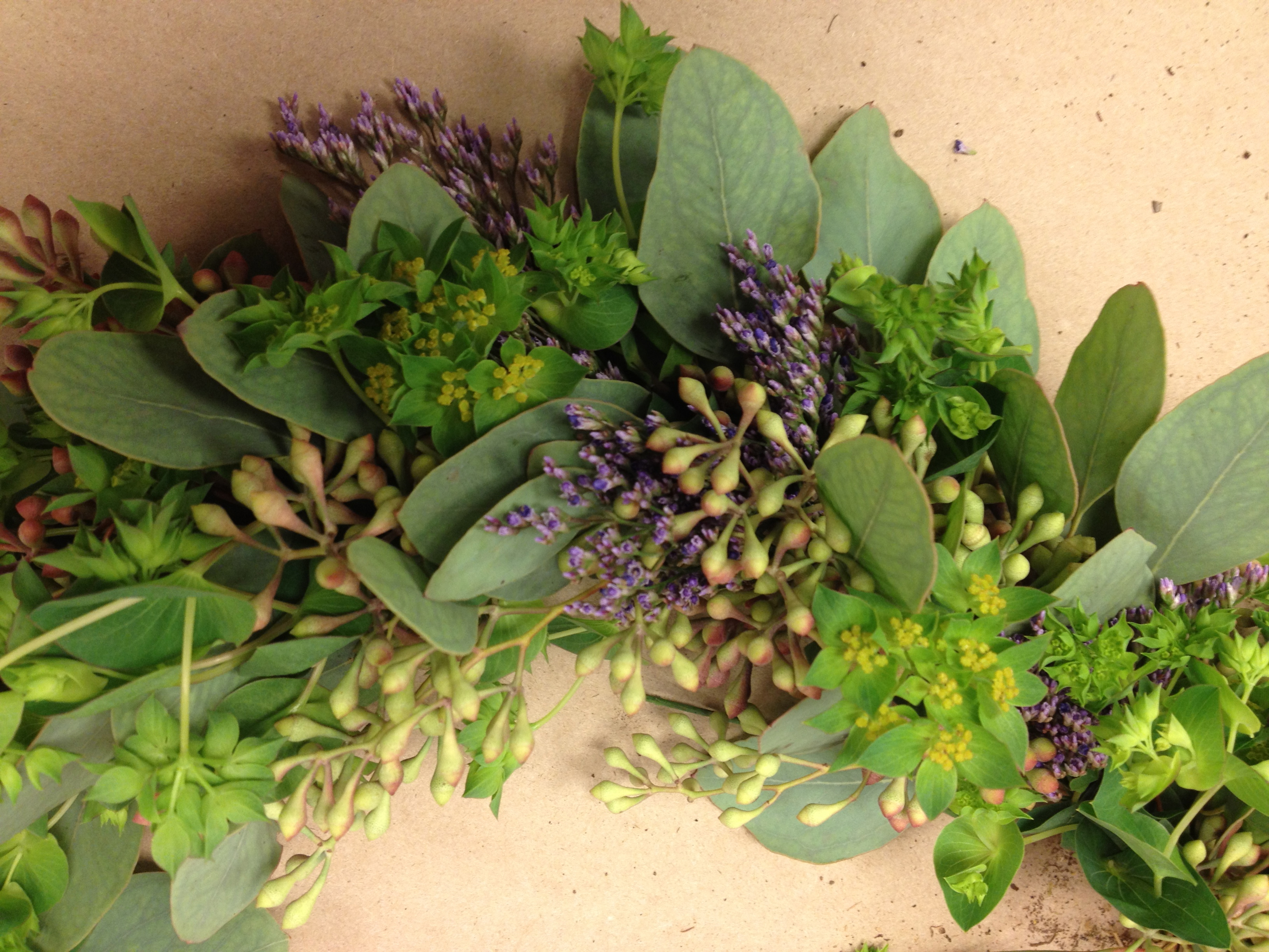 Small Garland Of Purple Limonium Seeded Eucalyptus