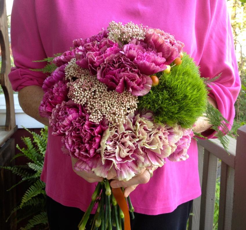 spiraling carnation bouquet