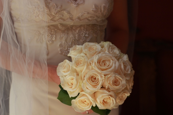 My 'gold standard' hand-wired bouquet with cream roses at the peak of their perfection