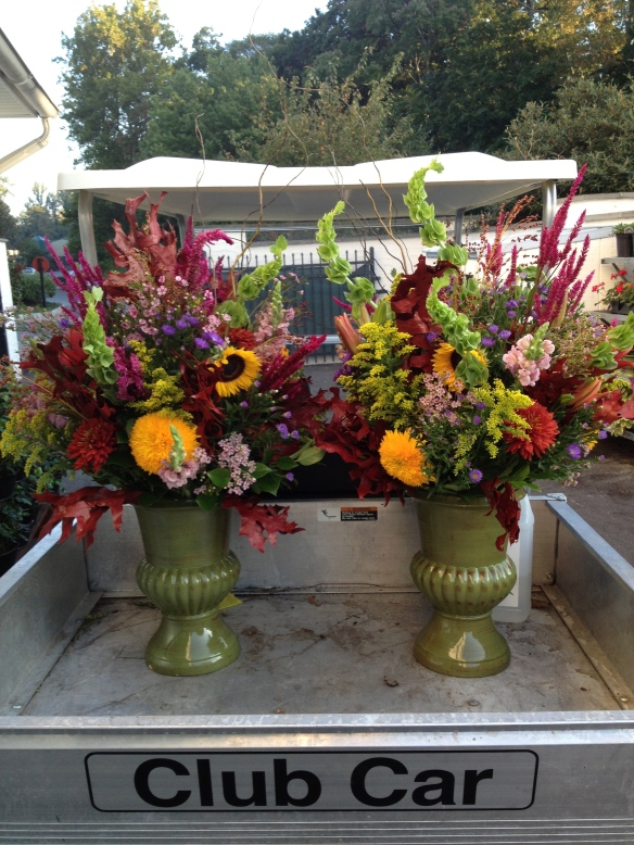Golf Cart full of Autumnal Arrangements for Merion Golf Club