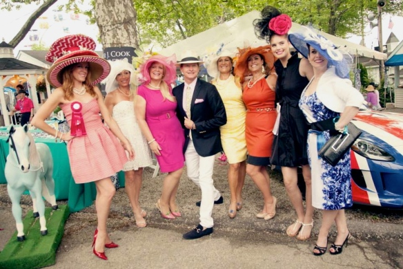 Ladies Hat Day competitors and winners with Carson Kressley (judge) photo by Brenda Carpenter