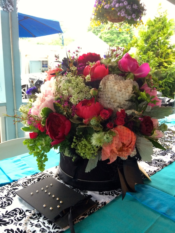 My design using peonies with a little hat netting